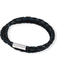 Tateossian | Silver Pop Scoubidou Leather Bracelet Blueblack for Men | Lyst