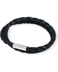 Tateossian | Metallic Silver Pop Scoubidou Leather Bracelet Blueblack for Men | Lyst