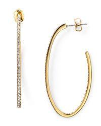Nadri - Metallic Pave J Hoop Earrings - Lyst