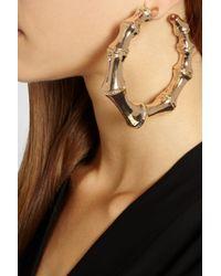 Balmain - Metallic Goldplated Hoop Earrings - Lyst