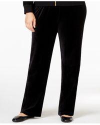 Calvin Klein | Black Plus Size Velour Pull-on Pants | Lyst
