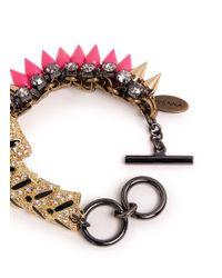 Venna - Pink Crystal Pavé Tiger Spike Bracelet - Lyst