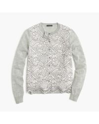 J.Crew | Gray Petite Lace Panel Cardigan Sweater | Lyst
