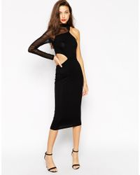 ASOS | Black Tall Exclusive Midi Bodycon Dress With Mesh Contrast And Cutout | Lyst