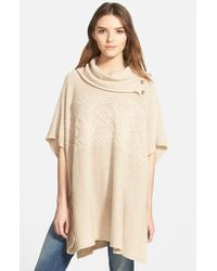 NYDJ | Natural Cable Cowl Neck Poncho | Lyst