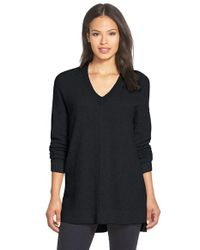 Eileen Fisher - Gray Cashmere V-neck Tunic Sweater - Lyst