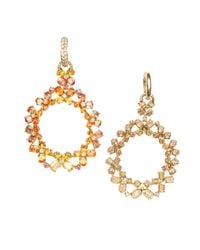 Vendoro - Metallic Multi Sapphire And Diamond Drop Earrings - Lyst