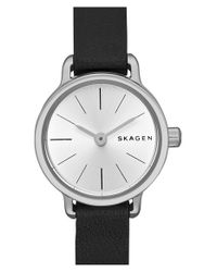 Skagen | Black 'hagen' Leather Strap Watch | Lyst
