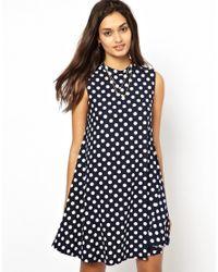 Glamorous | Blue Swing Dress in Polka Spot | Lyst