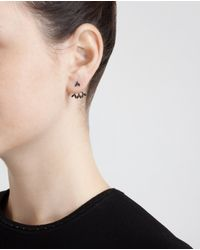Yvonne Léon | 18K Gold And Black Diamond Leaf Lobe Earring | Lyst