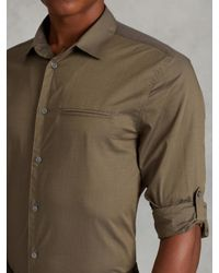 John Varvatos - Green Cotton Rolled Sleeve Shirt for Men - Lyst