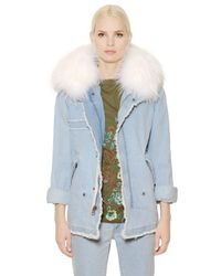Mr & Mrs Italy | Blue Cotton Denim Parka W/ Murmansky Fur | Lyst