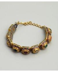 Amrapali | Metallic Navratan and Gold Painted Setting Bracelet | Lyst