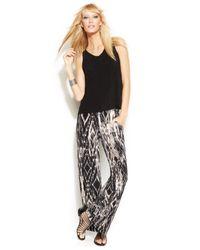 INC International Concepts - Black Layered Ikat-Print Wide-Leg Jumpsuit - Lyst