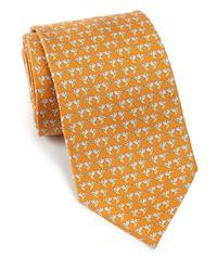Ferragamo - Orange Hummingbird Silk Tie for Men - Lyst