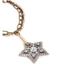 Lanvin | Metallic Crystal Star Pendant Multi Chain Necklace | Lyst