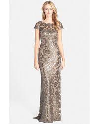 Tadashi Shoji | Metallic Illusion Yoke Sequin Lace Gown | Lyst