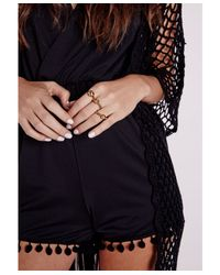 Missguided - Metallic Chain Detail Ring Set Gold - Lyst