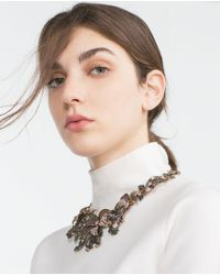 Zara | Metallic Floral And Pearl Motif Necklace | Lyst