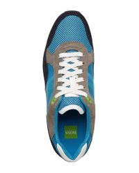 BOSS Green - Blue Suede Sneakers 'runcool' for Men - Lyst