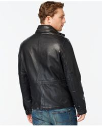 Tommy Hilfiger - Black Leather Four-pocket Field Jacket for Men - Lyst
