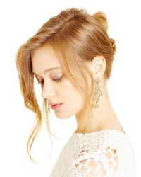 Oscar de la Renta | Natural Crystal Golden Shadow Pave Flower Drop Earrings | Lyst
