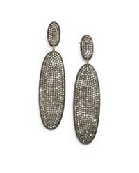 Bavna - Gray Diamond Pavã© & Sterling Silver Oval Drop Earrings - Lyst