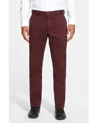 French Connection - Red Slim Fit Stretch Cotton Pants for Men - Lyst