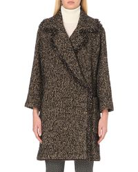 Etro | Black Shearling Trimmed Tweed Wrap Coat | Lyst