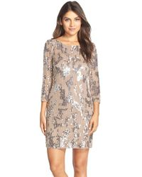 Adrianna Papell | Metallic Embellished Sheath Dress | Lyst