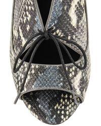 Pour La Victoire - Blue Vika Snake-effect Leather Pumps - Lyst