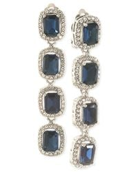 Carolee | White Silver-Tone Blue Stone And Pavé Crystal Linear Clip-On Earrings | Lyst