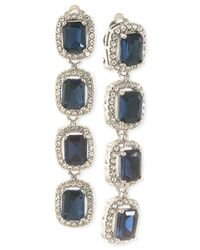 Carolee - White Silver-Tone Blue Stone And Pavé Crystal Linear Clip-On Earrings - Lyst