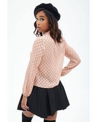 Forever 21 - Pink Geometric Button-down Blouse - Lyst