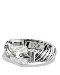 David Yurman - Metallic Cable Buckle Large Bracelet With Diamonds - Lyst