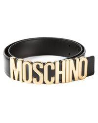 Moschino | Black Logo Plaque Belt | Lyst