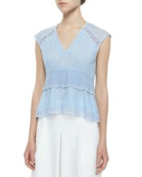 Nanette Lepore | Blue Sleeveless Lace Flutter Traveler Top | Lyst