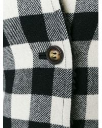 RED Valentino - Black Checked Cape Coat - Lyst