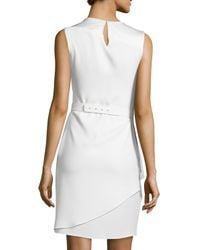 Halston - White Asymmetric-overlay Sheath Dress - Lyst