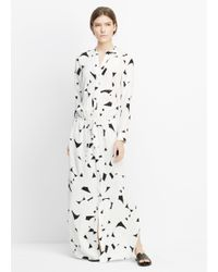 Vince - White Drawstring Printed-Silk Maxi Dress  - Lyst
