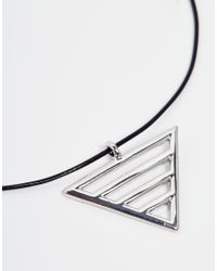 ASOS - Black Bar Triangle Choker Necklace - Lyst