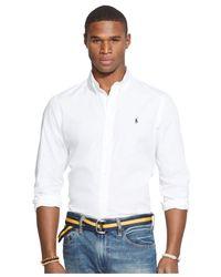 Polo Ralph Lauren   White Poplin Navy Solid Shirt for Men   Lyst
