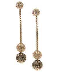 Judith Jack | Metallic Gold-tone Sterling Silver Marcasite And Crystal Fireball Drop Earrings | Lyst