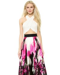 MILLY - Wrap Halter Top - White - Lyst