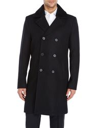 SOIA & KYO - Black Gabriel Shearling Collar Overcoat for Men - Lyst