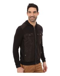 Calvin Klein | Black Long Sleeve Mixed Media French Solid Mix Media French Rib Hood Sweatshirt for Men | Lyst