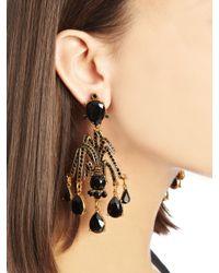 Oscar de la Renta | Black Swarovski Crystal Pavé Drop Earrings | Lyst