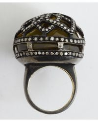 Amrapali - 'Colored Stone Collection' Diamond & Black Quartz Cocktail Ring - Lyst