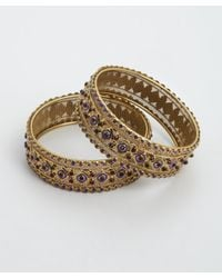 Chamak by Priya Kakkar | Metallic Set Of 2 - Gold And Crystal Bangles | Lyst