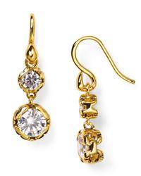 Diane von Furstenberg   Gold Cubic Zirconia Drop Earrings   Lyst